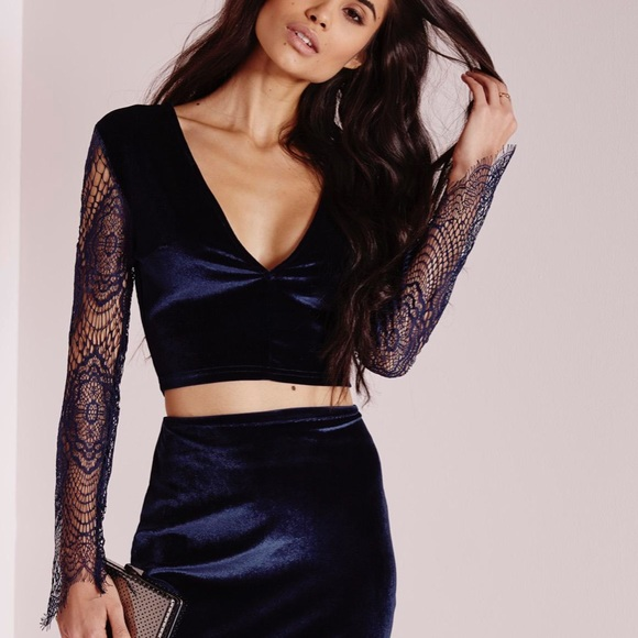 Missguided Tops - Misguided lace velvet crop top